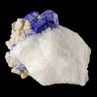 "1.9"" UltramarineBlue LAZURITE Sharp Crystals in WhiteMarble Afghanistan for sale"