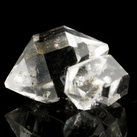 "1.2"" Exceptional Water-Clear HERKIMER DIAMOND 2 Twin Crystals to 1"" NY for sale"