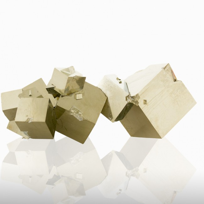 """6.1"""" Sharp Penetrating Twins PYRITE 19 Golden Cubic Crystals to 3""""Spain for sale"""