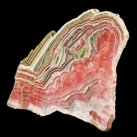 "4.9"" Bulls Eye Red-Pink-White-Tan RHODOCHROSITE PolishedSlice Argentina for sale"