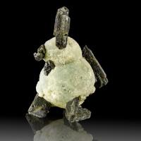 """2.3"""" Colorful Green PREHNITE BALLS w-Shiny Dark EPIDOTE Crystals Mali for sale"""
