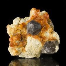 "2.4"" Gemmy Orange SPESSARTINE GARNET Crystals with SMOKY QUARTZ China for sale"