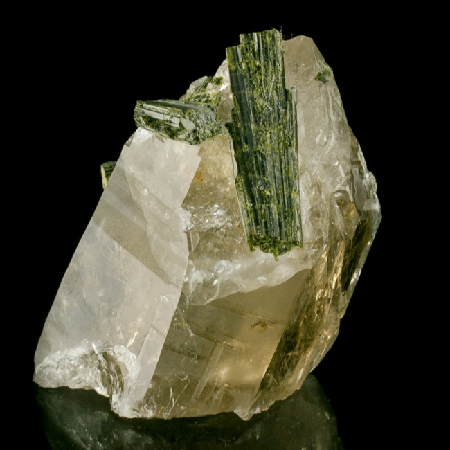 "2.9"" Deep Green EPIDOTE Crystals On+Through Clear Quartz Crystal Brazil for sale"
