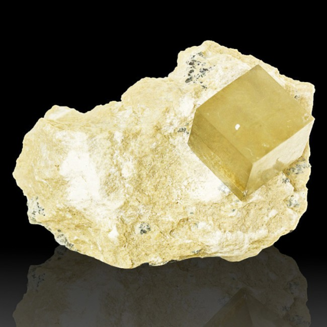"2.6"" Shiny Near Perfect PYRITE CUBE Crystal in2.9"" Matrix Navajun Spain for sale"