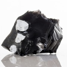 """3.3"""" Jet Black Glassy OBSIDIAN +Fayalite+Cristobalite inVugs California for sale"""