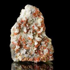 "4.2"" Brilliant Red REALGAR Sharp Crystals w-Quartz+Pyrite+Galena Peru for sale"