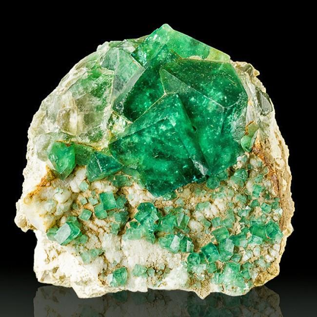 """3.2"""" Madagascar GREEN PHANTOM FLUORITE Gemmy Glassy Cubic Crystals on Matrix"""