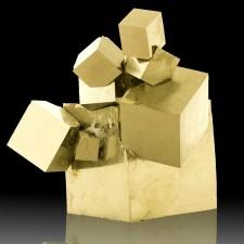 "12 PYRITE CUBES to 2.9"" in Complex Sculptural 3-D Crystal Group Navajun Spain"