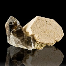 """2"""" Lustrous SMOKY QUARTZ Terminated Crystals on MICROCLINE Moat Mtn NH for sale"""