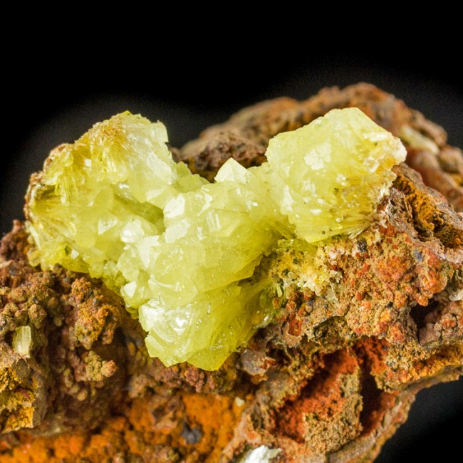 """2.2"""" Shiny Yellow-Green ADAMITE Sharp Crystal Mounds on Limonite Mexico for sale"""
