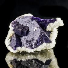 "3.7"" Purple FLUORITE with Clear BARITE Crystals Minerva Mine Illinois for sale"