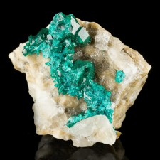 """2.0"""" Sparkling Emerald Green DIOPTASE CRYSTALS with Calcite Kazakhstan for sale"""