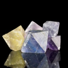 """7 Colorful FLUORITE OCTAHEDRONS to1.4""""Blue Yellow Purple Clear Illinois for sale"""