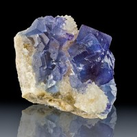 "2.9"" BLUE FLUORITE Sharp Cubic Crystals to 1""on White Quartz Bingham NM for sale"
