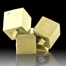 "4"" Flashy Metallic 6 Sharp Cubic PYRITE Crystals to 2.4"" Navajun Spain for sale"