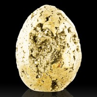 """4.2"""" Dazzling Flashy Polished PYRITE Egg Superb Crystal-Lined Vugs Peru for sale"""