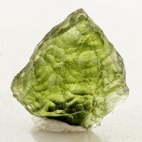 "1"" 22.3ct Gemmy Moss Green MOLDAVITE w-Grooves & Furrows Czech Republic for sale"
