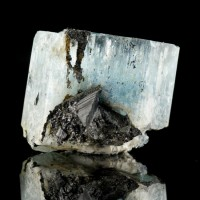 ".9"" Turquoise Blue Gem AQUAMARINE Crystal with Black Tourmaline Namibia for sale"
