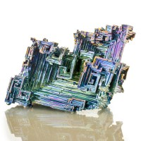 """3.2"""" Stair Step BISMUTH Hoppered Crystal Iridescent Blue Yellow England for sale"""
