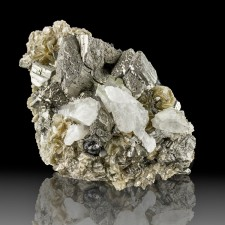 "3.1"" Shiny Silver ARSENOPYRITE Metallic Crystals with Quartz+Mica China for sale"