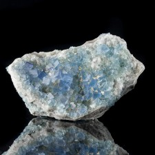 "3.8"" Blanchard Mine BLUE FLUORITE Sharp Shiny Cubic Crystals on Quartz for sale"
