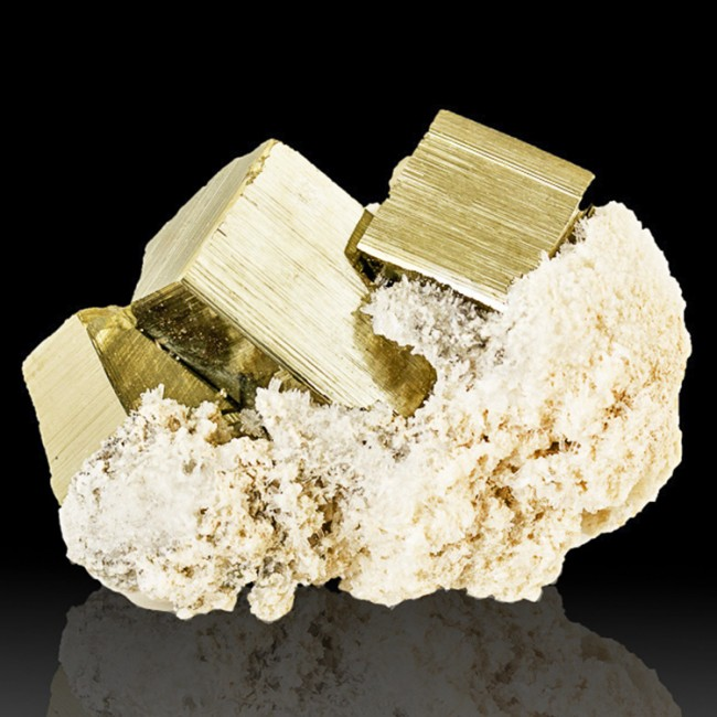 "2.8"" CUBIC PYRITE Metallic Flashing Brassy Gold Crystals +Calcite Peru for sale"