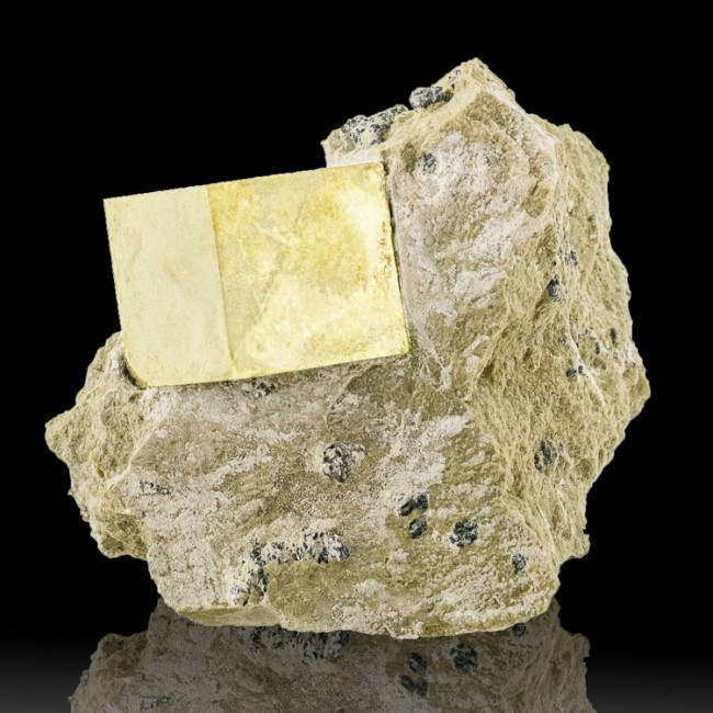 """3"""" Natural Brassy Gold PYRITE Sharp 1.5"""" Cubic Crystal on Matrix Spain for sale"""