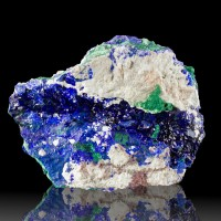 "3.6"" Glassy Saturated Blue AZURITE Crystals +MALACHITE Milpillas Mexico for sale"