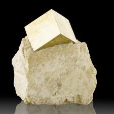 "1.5"" PYRITE CUBE RazorSharp Flashy Crystal on 2.6"" Matrix Navajun Spain for sale"