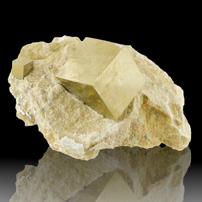 """3.2"""" Brassy Gold PYRITE 2 Cubic XSharp Crystals to 1.4"""" on Matrix Spain for sale"""