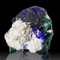 "1.4"" Milpillas AZURITE Crystals Shiny Navy Blue Color+Malachite Mexico for sale"