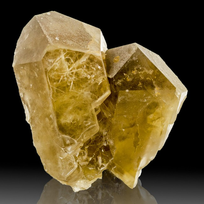 "3.8"" DeepGolden FRENCH BARITE Sharp Twin Gemmy Fine Terminated Crystals for sale"
