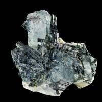 "1.3"" Gem Blue AQUAMARINE Sharp Crystal w-Shiny Black Tourmaline Namibia for sale"