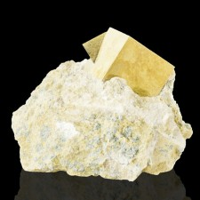 """2 Penetrating Twin Cubic PYRITE CRYSTALS on 2.4"""" Tan Marl Matrix Spain for sale"""