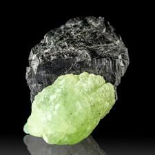 ".7"" Shiny Sharp Black BABINGTONITE Crystal on PREHNITE MA State Mineral for sale"