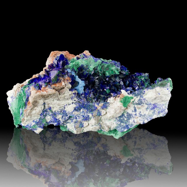 "4.2"" Flashy Blue AZURITE Crystals w-Silky Green MALACHITE Milpillas MEX for sale"