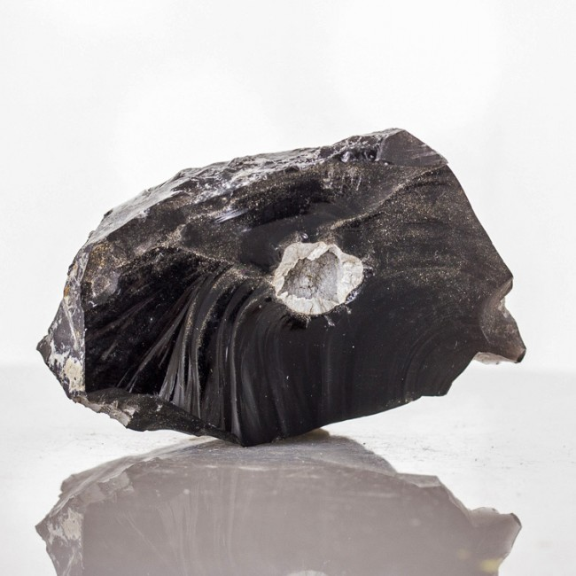 "3.6"" Volcanic Glass Glossy Black OBSIDIAN w-Fayalite & Christobalite CA for sale"