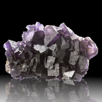 "4.9"" Colorful DeepPurple FLUORITE Sharp Stepped Cubic Crystals Illinois for sale"