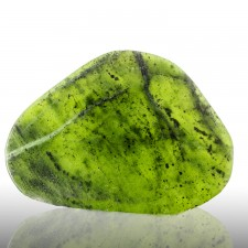 "4.3"" 189g Polished Slice Burmese NEPHRITE JADE Deep Vivid Green Myanmar for sale"