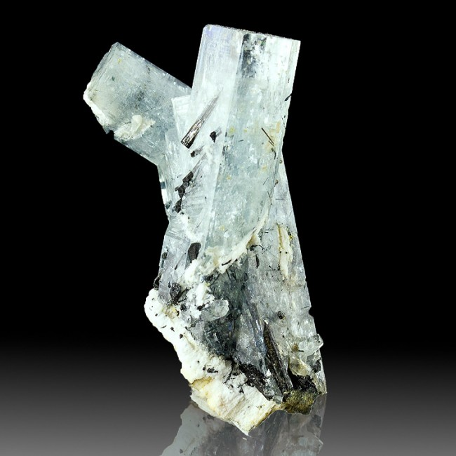 "1.4"" Terminated Blue AQUMARINE Crystals w-Jet Black TOURMALINE Namibia for sale"