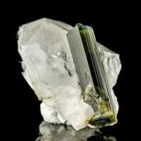 "1.4"" 2Tone Green ELBAITE TOURMALINE Terminated Crystal in Clear Quartz Pakistan"