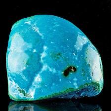 "3.4"" Turquoise Blue Polished CHRYSOCOLLA w-Malachite+Heterogenite Congo for sale"