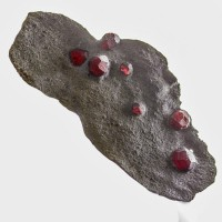 """4.3"""" Juicy Red 7 ALMANDINE GARNETS in Native Graphite Red Ember Mine MA for sale"""