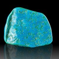 """4.7"""" Turquoise Blue Polished CHRYSOCOLLA w-MALACHITE Underlayer Congo for sale"""